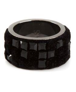 Atelier Swarovski | Jet Plated Brass And Swarovski Crystal Small Viktor Rolf Velvet Rock Ring From Featuring Nylon Flocking