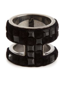 Atelier Swarovski | Jet Matt Antique Plated Brass Large Viktor Rolf Velvet Rock Ring From Featuring Swarovski Crystals And Nylon Flocking