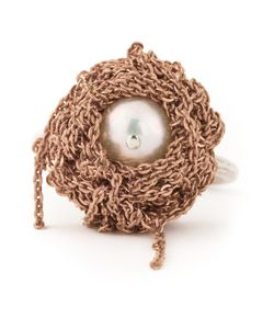 Arielle De Pinto | Sterling Chained Pearl Ring From Featuring Vermeil