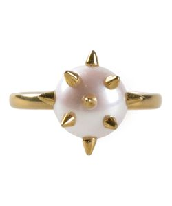 NEKTAR DE STAGNI | And Plated Pearl Pave Spike Ring From Featuring Freshwater Peals With 14k Vermeil Spike Detailing