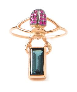 DANIELA VILLEGAS | 18kt Khepri Beetle Midi Ring From Featuring An Emerald And Pave Set Rubies