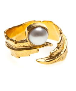 Leivankash | -Tone Feather Pearl Open Ring From
