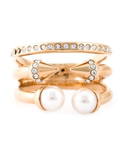 VITA FEDE | Plated Titanium And Swarovski Crystal Three Band Pearl Ring From