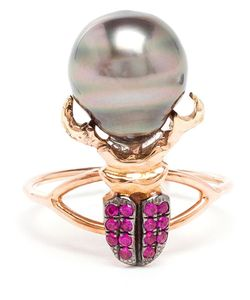 DANIELA VILLEGAS | Ruby And Pearl Beetle Ring