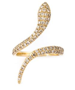ELISE DRAY | Snake Pinkie Ring From Featuring Pave Set Crystals