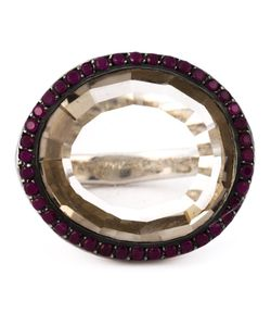 ROSA MARIA | Julia Ring From Featuring A Large Round Topaz Surrounded By Small Rubies