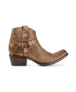 Damy | Chestnut Leather Woven Cowboy Boots From Featuring A Square Toe A Side Zip Fastening An Ankle Length A Low Block Heel And Buckled Straps