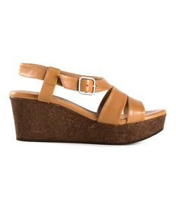 Coclico | Camel Leather Strappy Wedge Sandals From