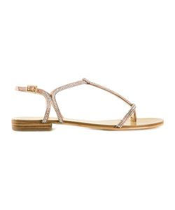 PELLE MODA | Light Leather Becca Embellished Sandals From