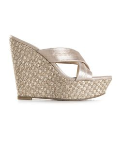 PELLE MODA | Platinum-Tone Leather Wedge Sandals From