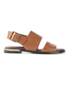 STELLA LUNA | Camel Leather Flat Sling Back Sandals From