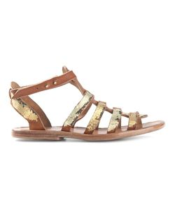 DIMISSIANOS & MILLER | And Tone Leather Wooden Sole Gladiator Sandals From