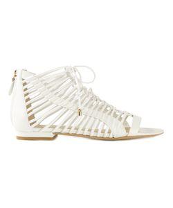 STELLA LUNA | Calf Leather Scrappy Flat Sandals From