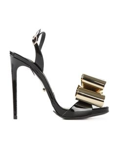 MARCO PROIETTI DESIGN | And Tone Patent Leather Metal Bow Sandals From