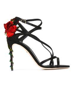 Dolce & Gabbana | Босоножки С Декорированным Розами Каблуком