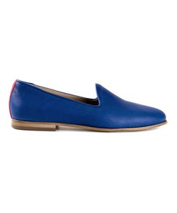 DEL TORO SHOES   Cobalt Nappa Leather Slip On Shoes From Featuring A Round Toe And A Flat Sole