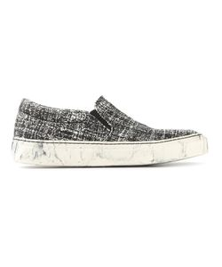 Cotélac | Ecru And Cotton And Leather Distressed Slip-On Sneakers From