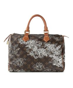 LOUIS VUITTON VINTAGE | Leather Dentelle Speedy 30 Tote From Featuring A Monogram Print A Print Embroidered Details Tone Hardware A Leather Trim Round Top Handles A Top Zip Fastening Multiple Interior Compartments And A Tone Logo Embossed Lock