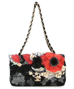 Chanel Vintage | Multicoloured Cotton Poppy Applique Shoulder Bag From Featuring Foldover Top With Twist-Lock Closure A Tone Logo Plaque A Quilted Effect An All-Over Print A Chain And Leather Strap A Back Slip Pocket An Internal Zipped Pocket An Internal Slip Pocket And Flower Applique Details