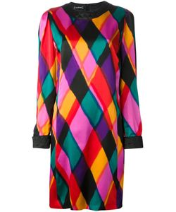 LOUIS FERAUD VINTAGE | Multicoloured Silk Colour Block Dress From Featuring A Round Neck A Concealed Rear Zip Fastening Long Sleeves And Bell Cuffs