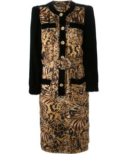 LOUIS FERAUD VINTAGE | And Tone Silk Leopard Print Dress From Featuring A Round Neck A Front Button Fastening Front Pockets A Belted Waist And Long Sleeves