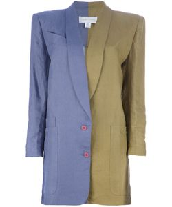 CLAUDE MONTANA VINTAGE | Lilac Linen Jacket From Claude Montana Featuring Square Shoulders Notched Lapels A Front Button Closure Side Patch Pockets A Colour Block Design To One Side A Loose Fit Long Tapered Sleeves And Buttoned Cuffs