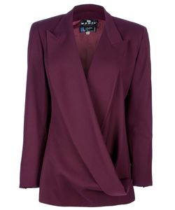 CLAUDE MONTANA VINTAGE | Bordeaux Wool Asymmetric Blazer From Featuring Draped Peaked Lapels Long Sleeves And A Chest Pocket