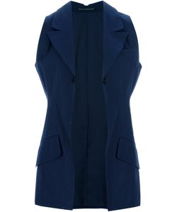 YOHJI YAMAMOTO VINTAGE | Navy Cotton Long Sleeveless Jacket From Yohji Yamamoto Featuring Notched Lapels A Single Front Button Fastening Flap Pockets To The Waist And A Cut-Out Detail At The Back Of The Collar