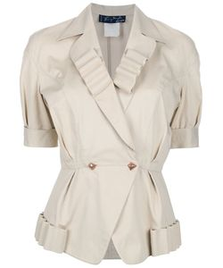 THIERRY MUGLER VINTAGE | Cotton Jacket From Featuring Notched Lapels With Pleated Detailing A Double-Breasted Front Button Fastening Fitted Waist Short Sleeves And A Pleated Hem