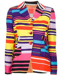 CHRISTIAN LACROIX VINTAGE | -Coloured Cotton Blend Blazer From Christian Lacroix Featuring A Striped Design Notched Lapels A Front Button Fastening Rear Cross Over Panels With Tone Button Fastening Two Front Flap Pockets And Long Sleeves