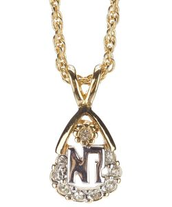 NINA RICCI VINTAGE | Tone Metal Necklace From Nina Ricci Featuring A Chain With A Rear Lobster Clasp Fastening Brand Charm Attachment At The Rear And An Embellished Logo Teardrop Pendant At The Front