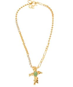 CHRISTIAN LACROIX VINTAGE | -Tone Metal Crucifix Pendant Necklace From Featuring A Box Chain A Bar Pin Fastening And Hand Crafted Crucifix Pendant With A Stone Detail