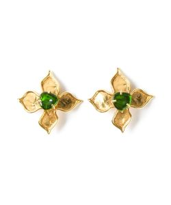 CHRISTIAN LACROIX VINTAGE | -Tone Metal Flower Earrings From Featuring A Clip On Fastening And A Stone In The Centre