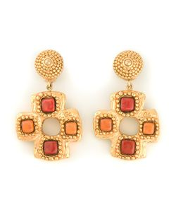 CHRISTIAN LACROIX VINTAGE | -Tone Stone Cross Clip-On Earrings From Featuring A Clip On Fastening And And Painted Stones
