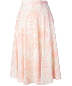 LOUIS FERAUD VINTAGE   Off Silk Fluid Skirt From Featuring Printed Motive A Side Button Zip Fastening