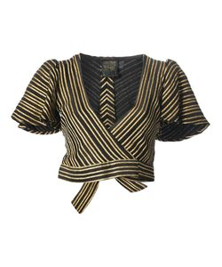 BIBA VINTAGE | And Tone Chevron Stripe Skirt Suit From Biba Featuring A Jacket With A Wrap Style Front A Tie Fastening Short Puff Sleeves And A Cropped Length
