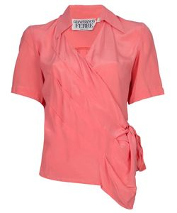 GIANFRANCO FERRE VINTAGE | Salmon Silk Blouse From Gianfranco Ferre Featuring Short Sleeves Open Neck And A Cross Over Front Tied At The Side