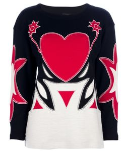 MOSCHINO VINTAGE | Wool Sweater From Moschino Featuring A Round Neckline And Applique Detailing At The Front And Sleeves Long Tapered Sleeves And A Straight Hem