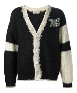 KANSAI YAMAMOTO VINTAGE | And Wool Blend Thick Knit Cardigan From Kansai Yamamoto Featuring A V-Neck Embroidered Logo Design At The Chest A Front Button Fastening With Embellished Trim An Embellished Design To The Back And Long Sleeves