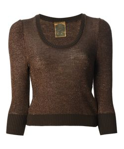 BIBA VINTAGE | Bronze-Tone Cropped Sweater From Biba Featuring A Scoop Neck Three-Quarter Length Sleeves And A Ribbed Hem And Cuffs