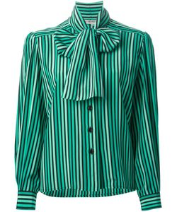 Jean Louis SCHERRER VINTAGE | Silk Pussy Bow Collar Shirt From Circa 1980 Featuring A Front Button Fastening Long Sleeves A Striped Pattern And Button Cuffs