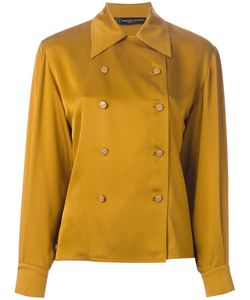 Jean Louis SCHERRER VINTAGE | Mustard Silk Double Breasted Shirt From Featuring A Classic Collar And Long Sleeves