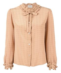LOUIS FERAUD VINTAGE | Nude Silk Striped Blouse From Featuring A Ruffled Neck A Bow Fastening A Front Button Fastening Long Sleeves And Button Cuffs