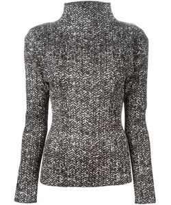 ISSEY MIYAKE VINTAGE | And Chevron Pattern Tweed Top From Pleats Please By Featuring A Turtle Neck And Long Sleeves