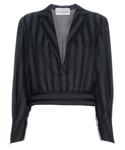 GIANFRANCO FERRE VINTAGE | Wool Blouse From Gianfranco Ferre Featuring A Deep V Neck Stripe Pattern Waistband Peaked Lapels An Gathered Back