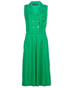 LOUIS FERAUD VINTAGE | Cotton Long Culotte Jumpsuit From Featuring A Double Breasted Top Tone Button Fastening Peaked Lapels And Sleeveless Styling