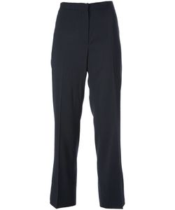 JIL SANDER VINTAGE | Dark Wool Blend High Waisted Tailored Trouser From Circa 1990 Featuring A Concealed Front Fastening Side Pockets Creases And A Cropped Length
