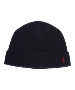 Ralph Lauren Blue | Navy Cashmere Beanie From Label Featuring A Ribbed Brim And A Contrasting Embroidered Pony Logo
