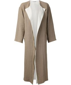 DUSAN | And Chalk Linen Long Coat From