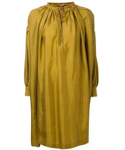 ARTS & SCIENCE | Mustard Silk Pleated Dress From Featuring A Stand Up Collar A Tied Neckline Long Sleeves And A Short Length